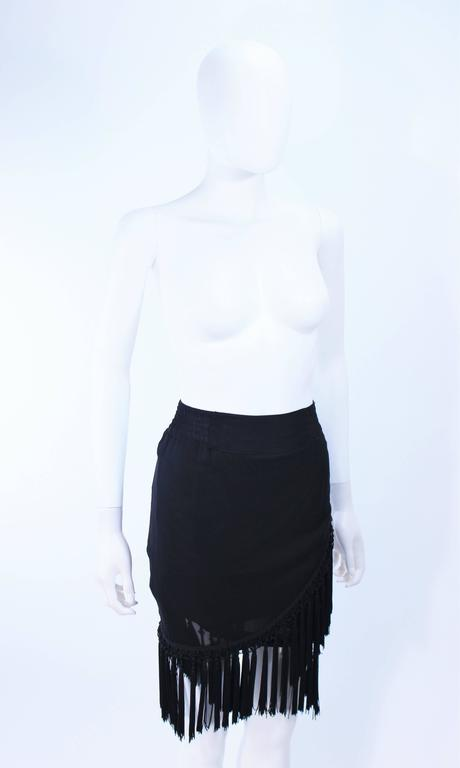 DIANE FREZ Black Chiffon Wrap Skirt with Tassels Size 4 6 6