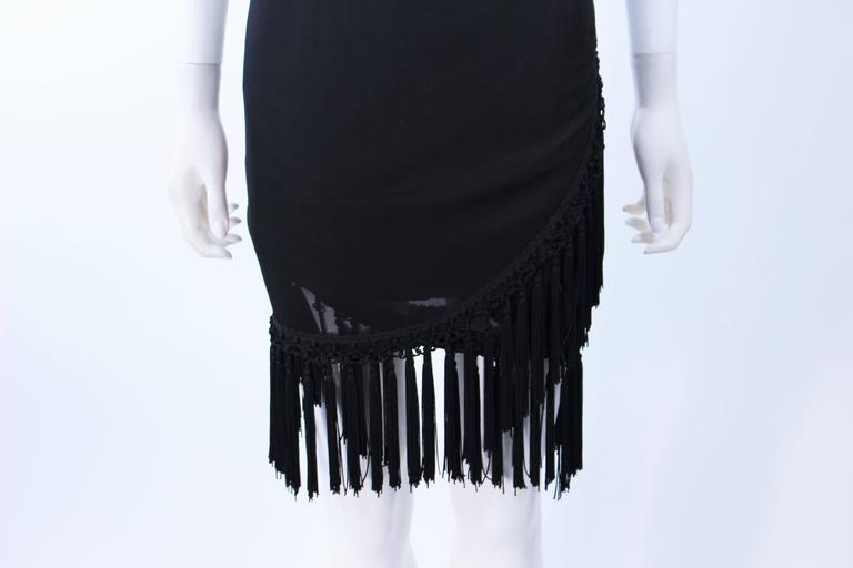 DIANE FREZ Black Chiffon Wrap Skirt with Tassels Size 4 6 In Excellent Condition For Sale In Los Angeles, CA