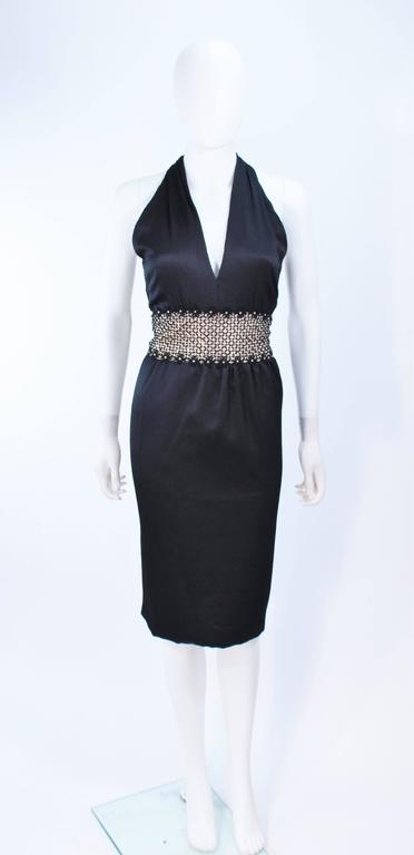 ROBERT DAVID-MORTON Black Silk Cocktail Dress Nude Rhinestone Waist Size 6 8 2