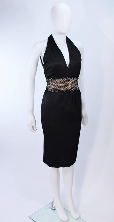ROBERT DAVID-MORTON Black Silk Cocktail Dress Nude Rhinestone Waist Size 6 8 4