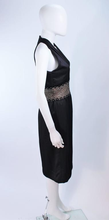 ROBERT DAVID-MORTON Black Silk Cocktail Dress Nude Rhinestone Waist Size 6 8 6