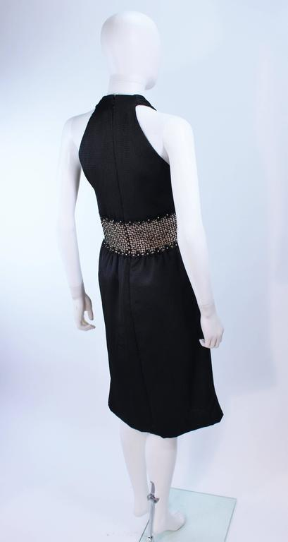 ROBERT DAVID-MORTON Black Silk Cocktail Dress Nude Rhinestone Waist Size 6 8 7