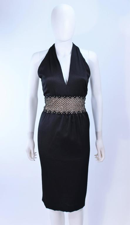 ROBERT DAVID-MORTON Black Silk Cocktail Dress Nude Rhinestone Waist Size 6 8 3
