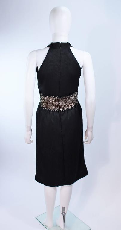 ROBERT DAVID-MORTON Black Silk Cocktail Dress Nude Rhinestone Waist Size 6 8 8