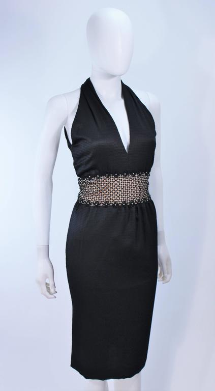 ROBERT DAVID-MORTON Black Silk Cocktail Dress Nude Rhinestone Waist Size 6 8 5