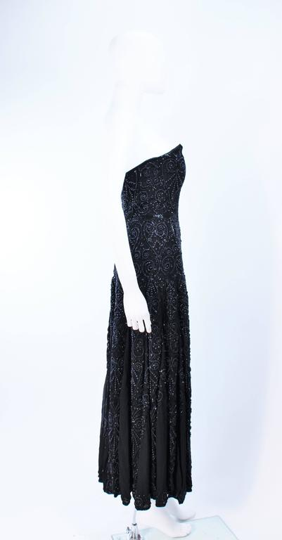 EAVIS & BROWN Black Velvet Heavily Beaded Strapless Gown with Chiffon Size 2 4 For Sale 4