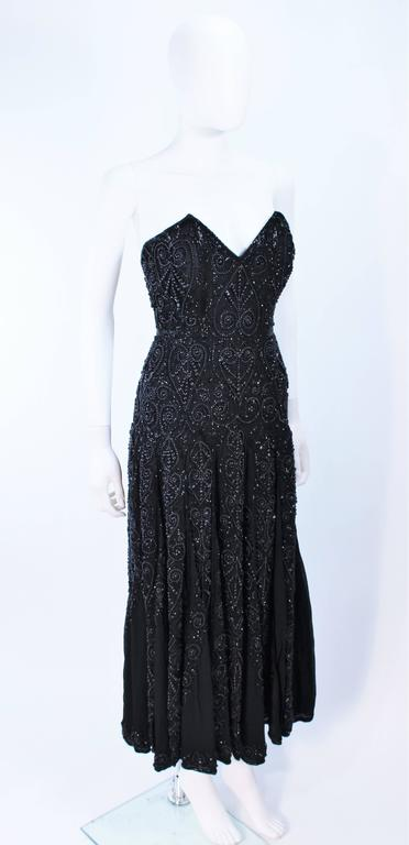 EAVIS & BROWN Black Velvet Heavily Beaded Strapless Gown with Chiffon Size 2 4 For Sale 1