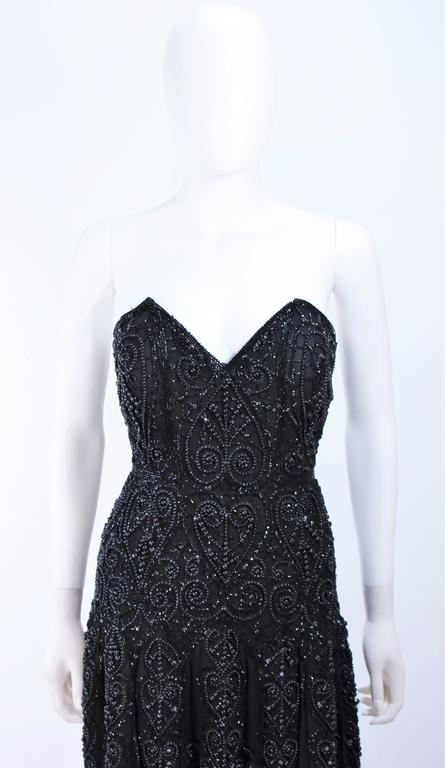 EAVIS & BROWN Black Velvet Heavily Beaded Strapless Gown with Chiffon Size 2 4 In Excellent Condition For Sale In Los Angeles, CA