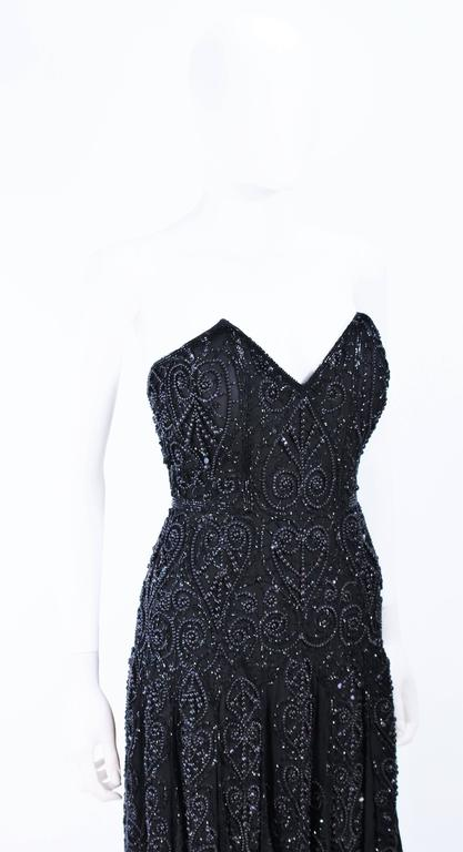 EAVIS & BROWN Black Velvet Heavily Beaded Strapless Gown with Chiffon Size 2 4 For Sale 2