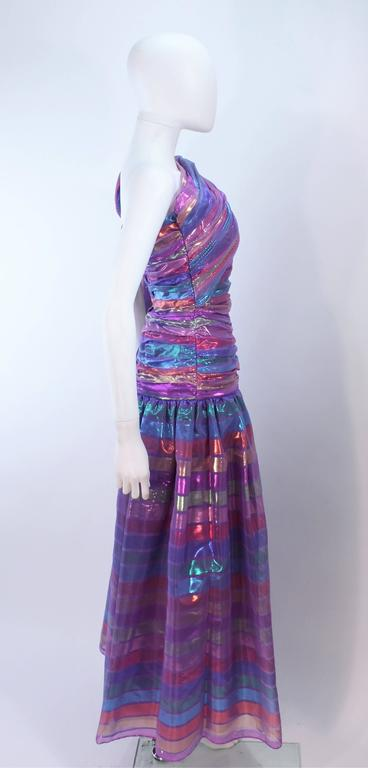 VICTOR COSTA 1970's Iridescent Rainbow Lame Gown with Drape Size 6 8 8