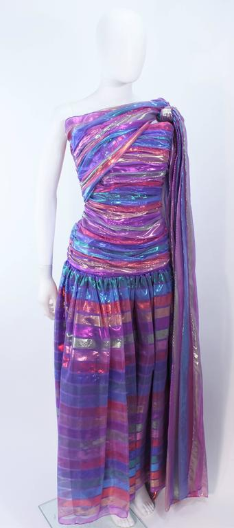 VICTOR COSTA 1970's Iridescent Rainbow Lame Gown with Drape Size 6 8 5