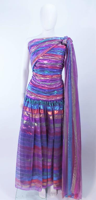 VICTOR COSTA 1970's Iridescent Rainbow Lame Gown with Drape Size 6 8 2