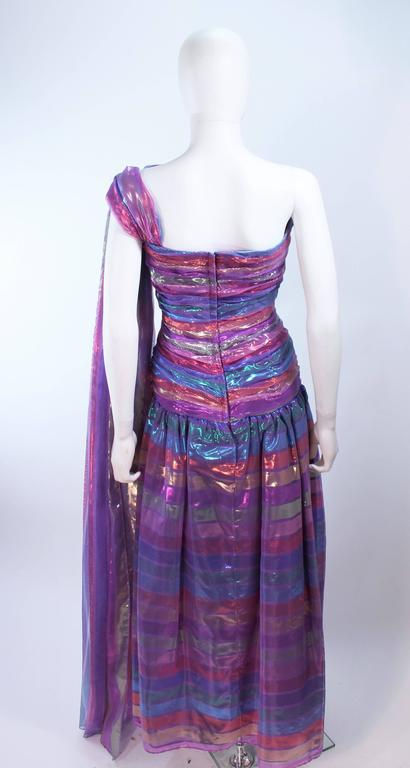 VICTOR COSTA 1970's Iridescent Rainbow Lame Gown with Drape Size 6 8 9
