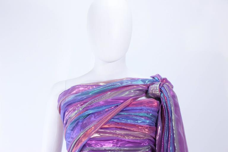 VICTOR COSTA 1970's Iridescent Rainbow Lame Gown with Drape Size 6 8 4