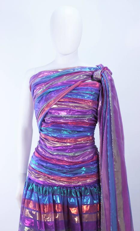 VICTOR COSTA 1970's Iridescent Rainbow Lame Gown with Drape Size 6 8 3