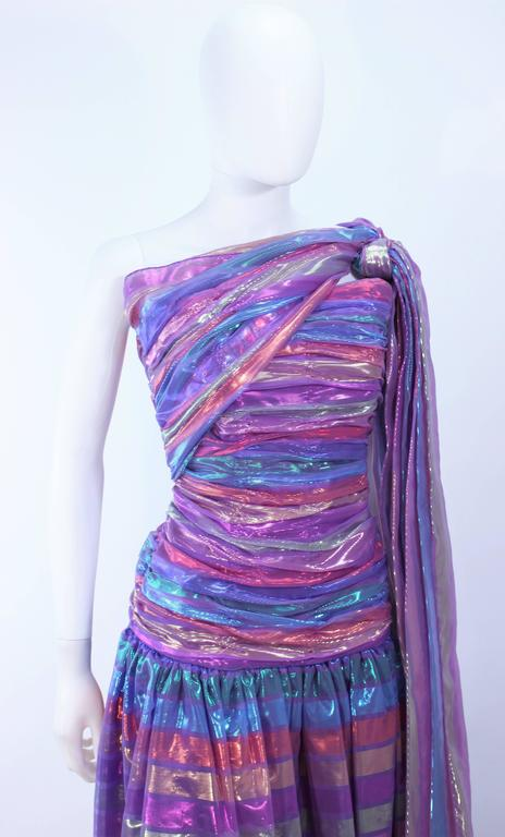 VICTOR COSTA 1970's Iridescent Rainbow Lame Gown with Drape Size 6 8 6