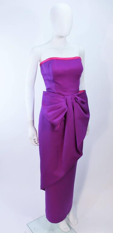 Women's VICTOR COSTA Purple and Magenta Draped Bow Gown Size 8 10 For Sale