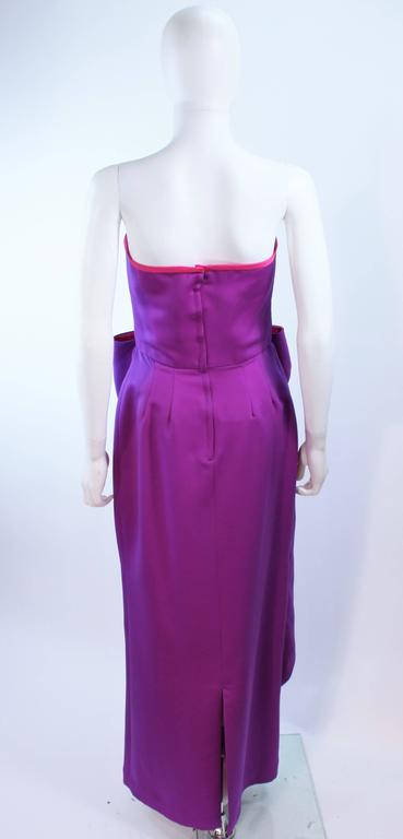 VICTOR COSTA Purple and Magenta Draped Bow Gown Size 8 10 For Sale 2
