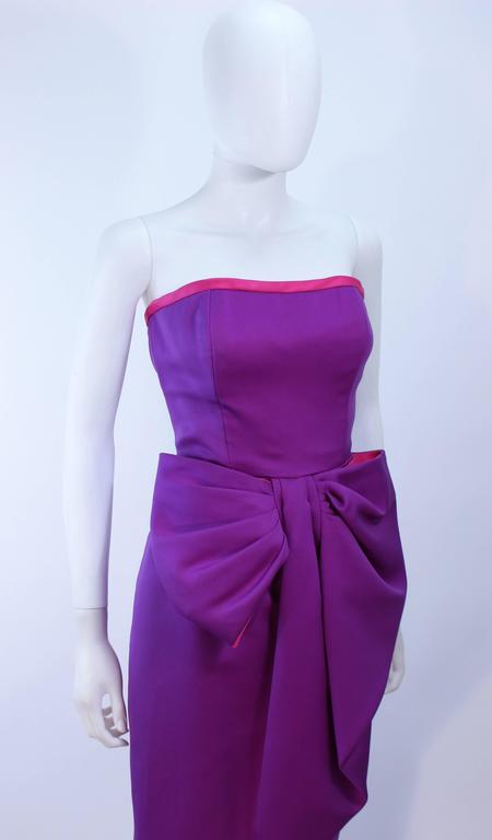 VICTOR COSTA Purple and Magenta Draped Bow Gown Size 8 10 For Sale 1
