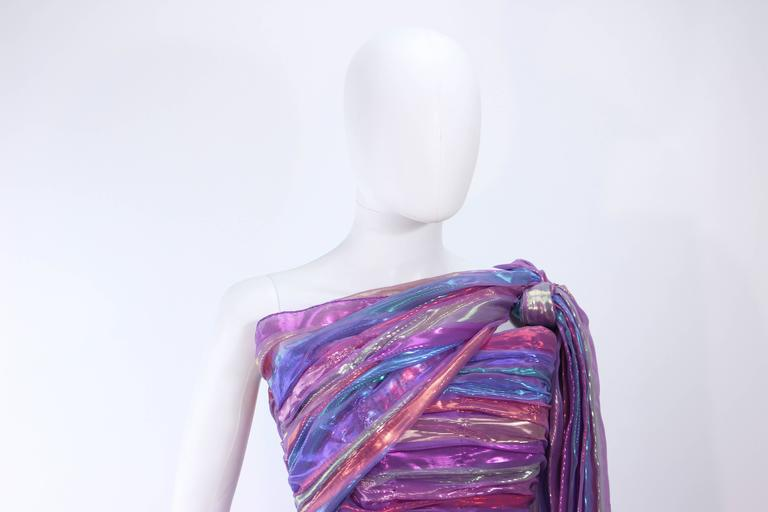 VICTOR COSTA 1970's Iridescent Rainbow Lame Gown with Drape Size 6 8 7