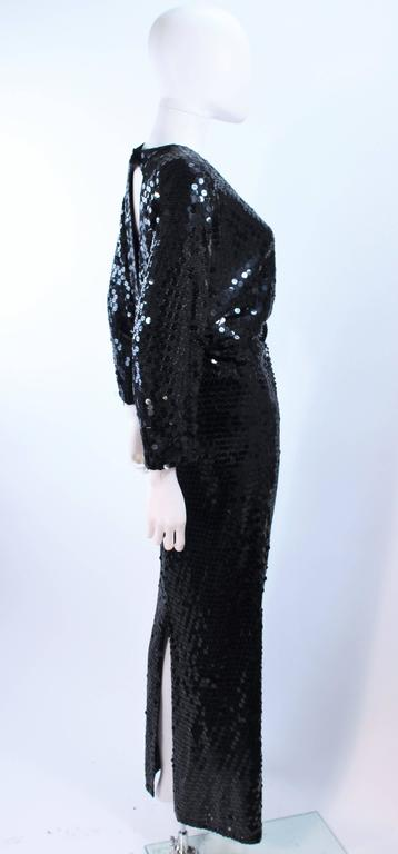 OLEG CASSINI Black Sequin Draped Gown with Dolman Sleeve Size 10 5