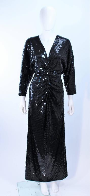 OLEG CASSINI Black Sequin Draped Gown with Dolman Sleeve Size 10 2