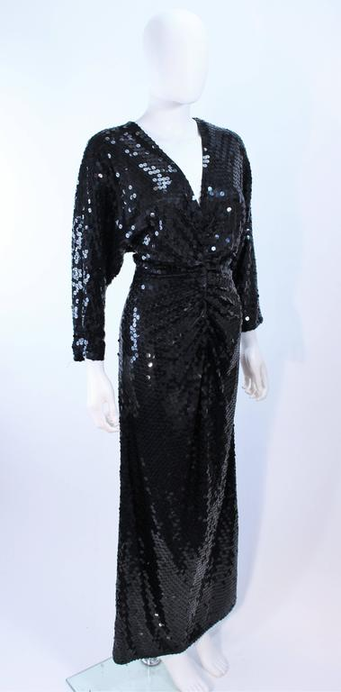 Women's OLEG CASSINI Black Sequin Draped Gown with Dolman Sleeve Size 10 For Sale
