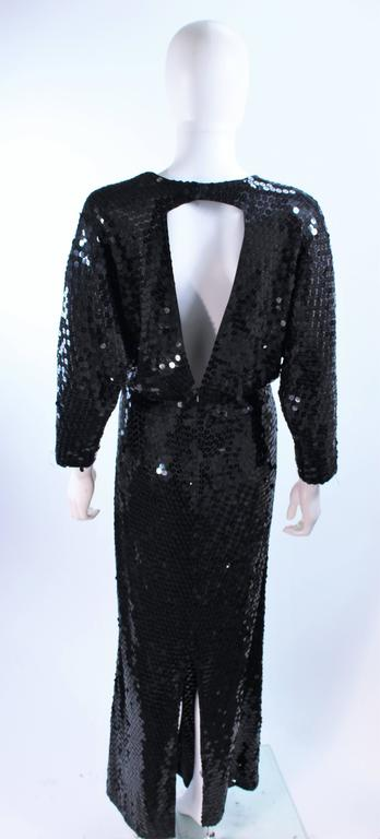 OLEG CASSINI Black Sequin Draped Gown with Dolman Sleeve Size 10 6