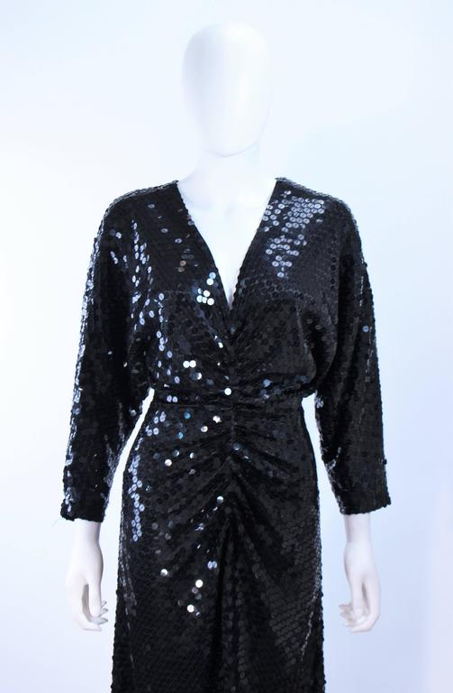 OLEG CASSINI Black Sequin Draped Gown with Dolman Sleeve Size 10 In Excellent Condition For Sale In Los Angeles, CA