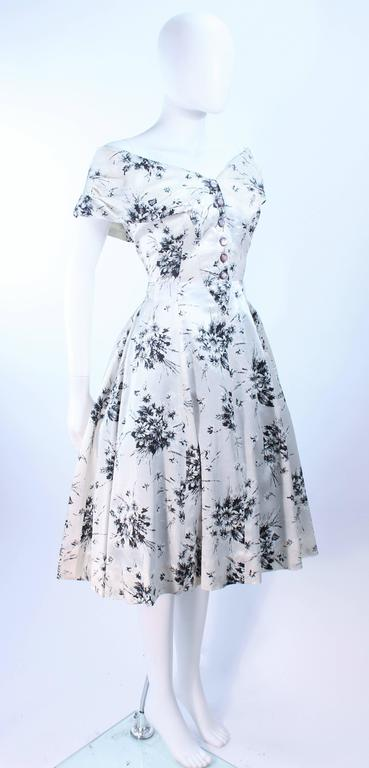 92fe27c7b54 Vintage 1950 s Custom Black and White Watercolor Silk Cocktail Dress Size 4  In Excellent Condition For