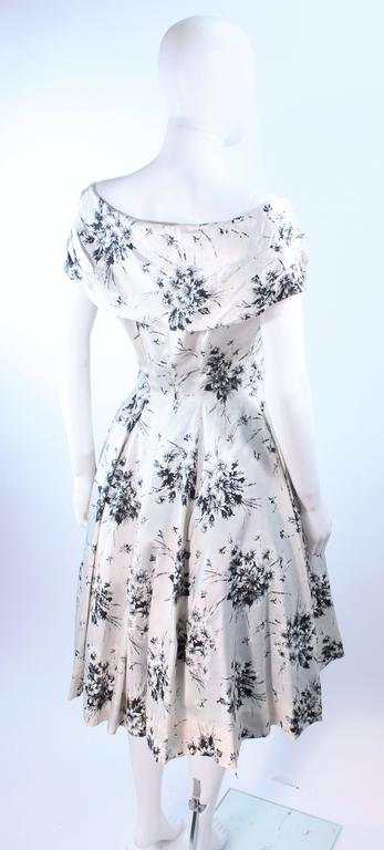 5491be46b1f Vintage 1950 s Custom Black and White Watercolor Silk Cocktail Dress Size 4  For Sale 1