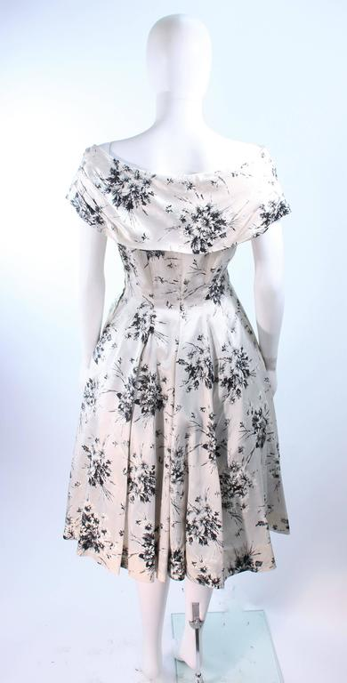 ac5d11a74cf Vintage 1950 s Custom Black and White Watercolor Silk Cocktail Dress Size 4  For Sale 2