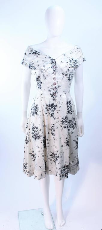 fa9fb545d82 Vintage 1950 s Custom Black and White Watercolor Silk Cocktail Dress Size 4  For Sale 4