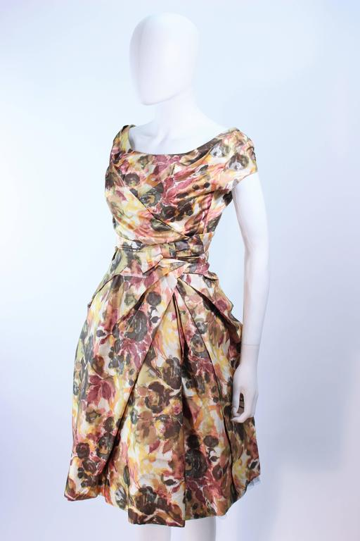 Vintage 1950 S Earth Tone Cocktail Dress With Watercolor