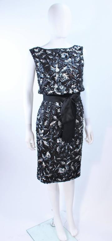 Vintage 1960's Black and Silver Hand Embellished Floral Cocktail Dress Size 2 4