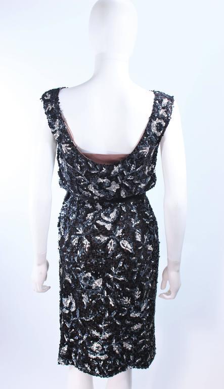 Vintage 1960's Black and Silver Hand Embellished Floral Cocktail Dress Size 2 8