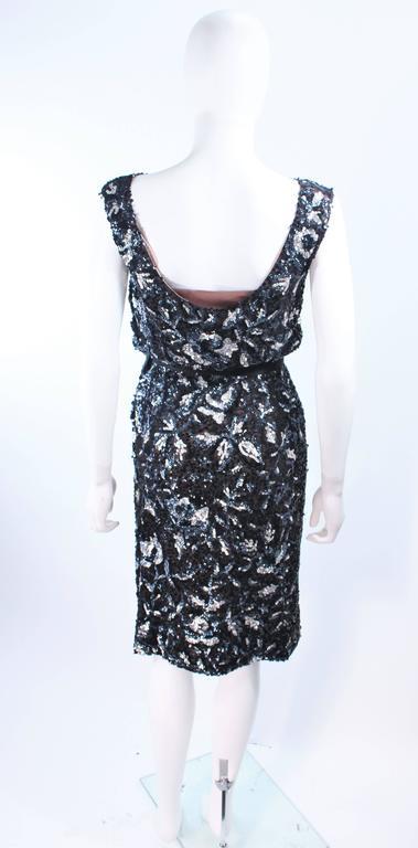 Vintage 1960's Black and Silver Hand Embellished Floral Cocktail Dress Size 2 7
