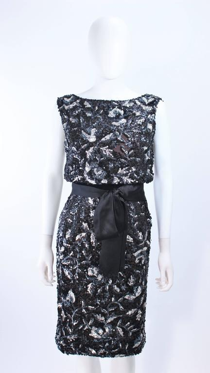 Vintage 1960's Black and Silver Hand Embellished Floral Cocktail Dress Size 2 In Excellent Condition For Sale In Los Angeles, CA