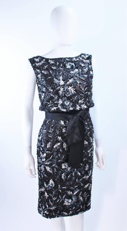 Vintage 1960's Black and Silver Hand Embellished Floral Cocktail Dress Size 2 5