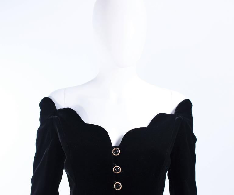 BELVILLE SASSON Velvet Skirt Evening Ensemble Off Shoulder Scallop Size 10 3
