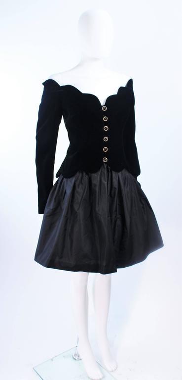 BELVILLE SASSON Velvet Skirt Evening Ensemble Off Shoulder Scallop Size 10 4