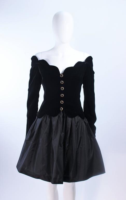 BELVILLE SASSON Velvet Skirt Evening Ensemble Off Shoulder Scallop Size 10 2