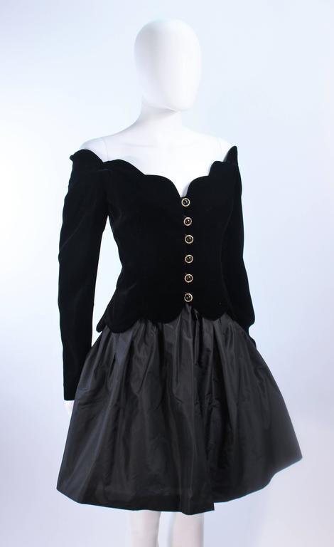 BELVILLE SASSON Velvet Skirt Evening Ensemble Off Shoulder Scallop Size 10 5