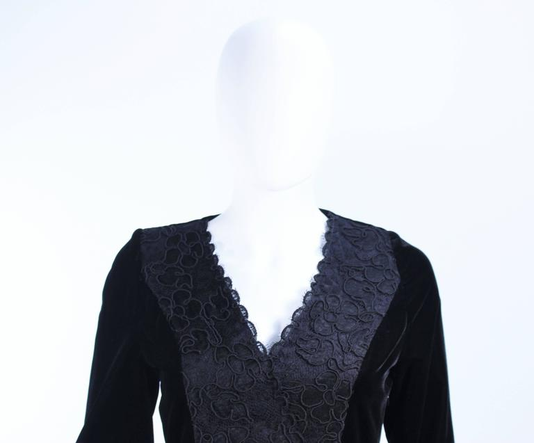 GIVENCHY Black Velvet Cocktail Dress with Lace Trim and Satin Belt Size 4 4