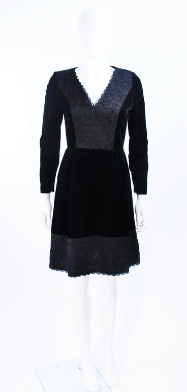 GIVENCHY Black Velvet Cocktail Dress with Lace Trim and Satin Belt Size 4 9