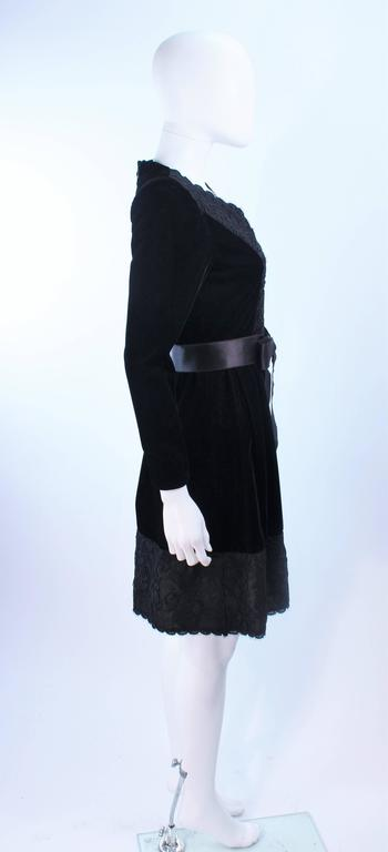 GIVENCHY Black Velvet Cocktail Dress with Lace Trim and Satin Belt Size 4 7