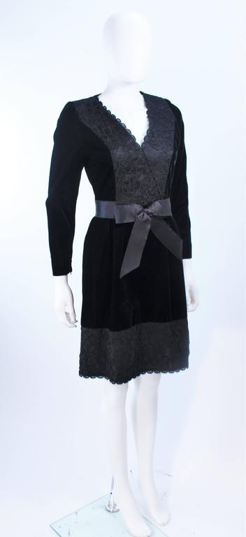 GIVENCHY Black Velvet Cocktail Dress with Lace Trim and Satin Belt Size 4 5