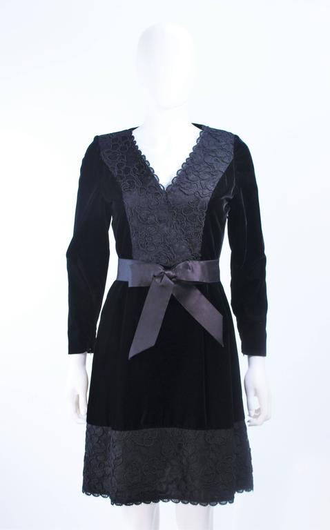 GIVENCHY Black Velvet Cocktail Dress with Lace Trim and Satin Belt Size 4 3