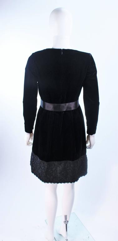 GIVENCHY Black Velvet Cocktail Dress with Lace Trim and Satin Belt Size 4 8