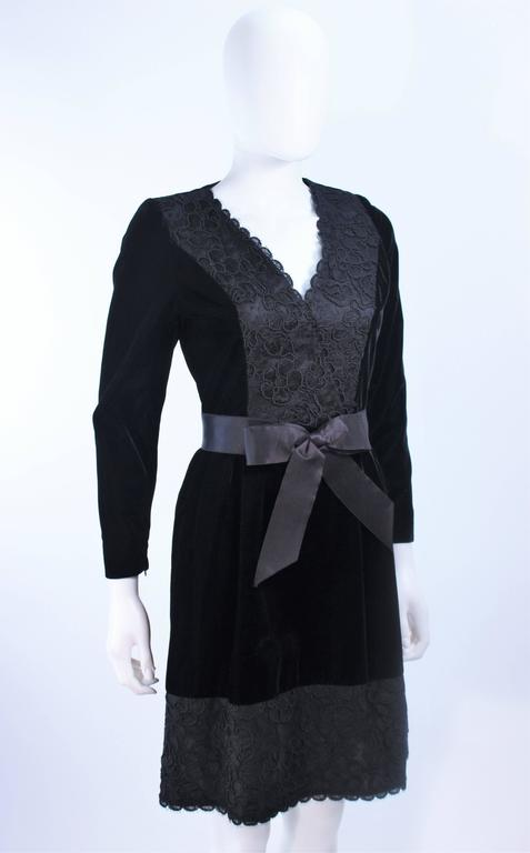 GIVENCHY Black Velvet Cocktail Dress with Lace Trim and Satin Belt Size 4 6
